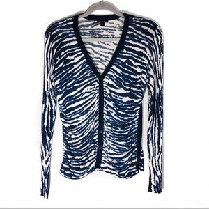 Lafayette 148 Ruched Button Front Striped Cardigan